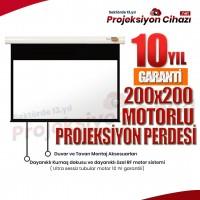 200x200 Motorlu Projeksiyon Perdesi (Sanper)